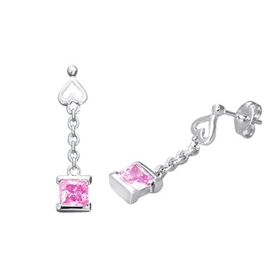 Oravo Princess Cut Cz Dangling Earrings Sterling Silver