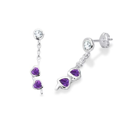 Oravo Heart Amethyst and Round White Cz Dangling Earrings in Sterling Silver