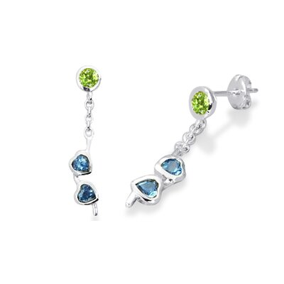 Round Peridot and Heart London Blue Topaz Dangling Earrings in Sterling Silver