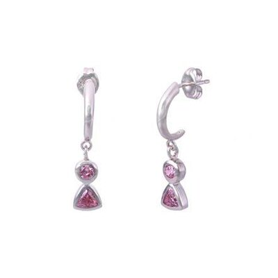 Oravo Round and Trillion Cut Pink Cz J-hoop Dangling Earrings in Sterling Silver