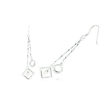 Oravo Designer Crazy Cut Dangling Earrings in Sterling Silver
