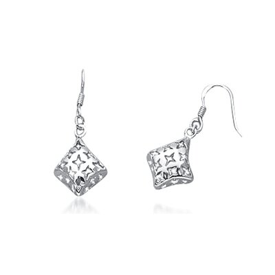 Oravo Cut Out Star Flower Dangling Tube Earrings in Sterling Silver