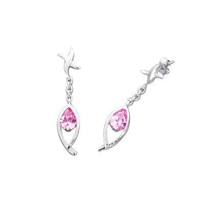 Oravo Pear Cut Cubic Zirconia Dangling Earrings in Sterling Silver