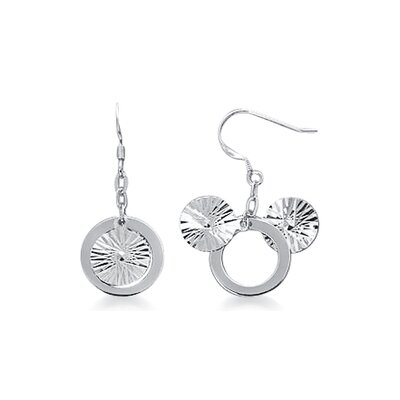 Laser Cut Disc and Ring Dangling Earrings in Sterling Silver
