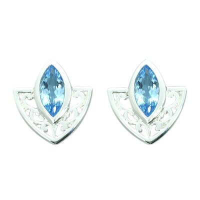 1.50 Ct.T.W. Genuine Marquise Cut Swiss Blue Topaz Earrings in Sterling Silver