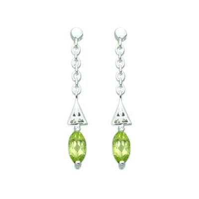 Oravo 1.25 Ct.T.W. Genuine Marquise Cut Peridot Earrings in Sterling Silver