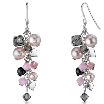 In Full Bloom Drop Earrings with s and Pearls Heart Motif in Sterling Silver with ...