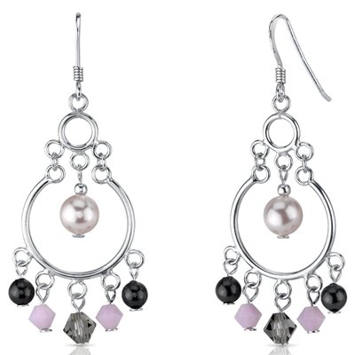 Oravo Pearl of Wisdom Pink s and Pearls Drop Earrings in Sterling Silver with Swarovski Elements