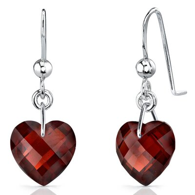Brilliant 9.00 carats Heart Shape Genuine Garnet earrings in Sterling Silver