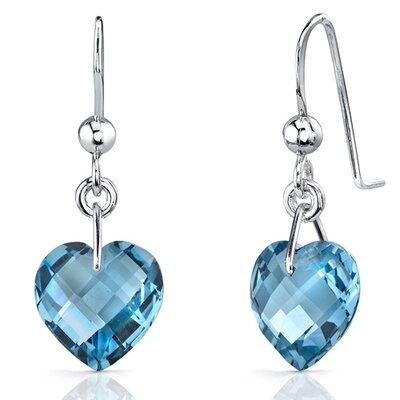 Classy 8.25 carats Heart Shape Genuine London Blue Topaz earrings in Sterling Silver