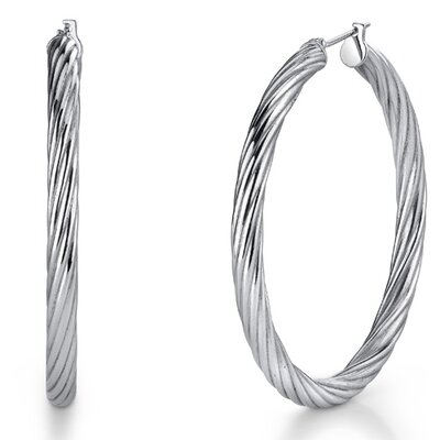 Oravo 35mm Diameter Diamond Cut Hoop Earrings in Stainless Steel
