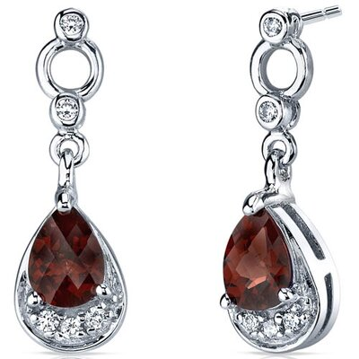 Simply Classy 1.50 Carats Garnet Dangle Earrings in Sterling Silver