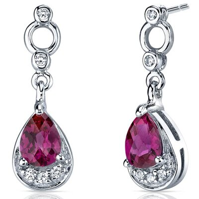 Simply Classy 1.50 Carats Ruby Dangle Earrings in Sterling Silver