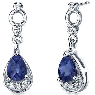 Simply Classy 2.00 Carats Blue Sapphire Dangle Earrings in Sterling Silver