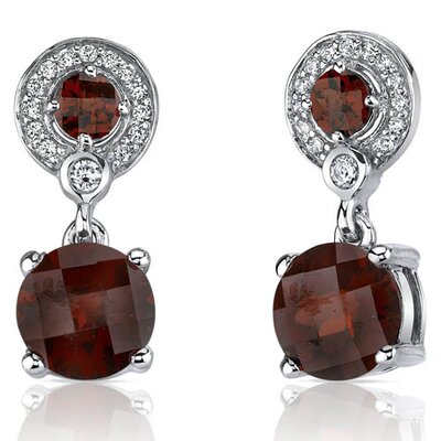Refined Elegance 5.50 Carats Garnet Dangle Earrings in Sterling Silver