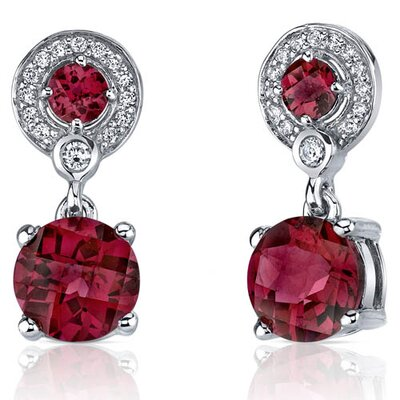 Refined Elegance 5.50 Carats Ruby Dangle Earrings in Sterling Silver