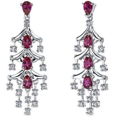 Captivating Seduction 4.00 Carats Ruby Dangle Earrings in Sterling Silver