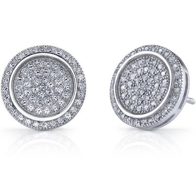 Glowing Glamour Sterling Silver Micro Pave Cubic Zirconia Circle Earrings