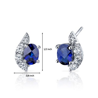 Oravo Sparkling Wave 2.00 Carats Blue Sapphire Oval Cut Cubic Zirconia Earrings in Sterling Silver