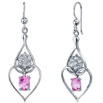 Oravo Illuminating Hearts 2.00 Carats Pink Sapphire Oval Cut Dangle Cubic Zirconia Earrings in Sterling Silver