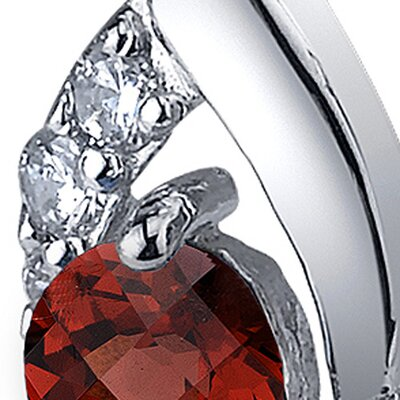 Oravo Radiant Teardrop 1.50 Carats Garnet Round Cut Cubic Zirconia Earrings in Sterling Silver