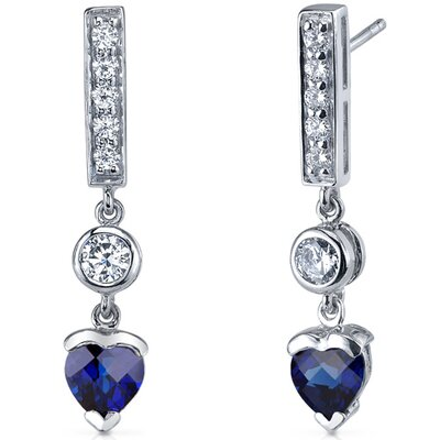 Oravo Exotic Love 2.00 Carats Blue Sapphire Heart Shape Dangle Cubic Zirconia Earrings in Sterling Silver