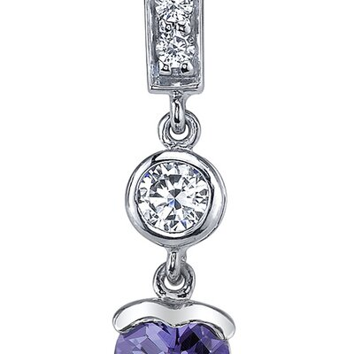 Oravo Exotic Love 2.00 Carats Alexandrite Heart Shape Dangle Cubic Zirconia Earrings in Sterling Silver