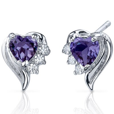 Cupids Grace 1.50 Carats Alexandrite Heart Shape Cubic Zirconia Earrings in Sterling Silver