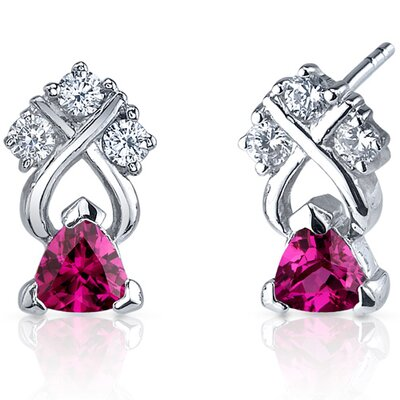 Oravo Regal Elegance 1.00 Carats Ruby Trillion Cut Cubic Zirconia Earrings in Sterling Silver