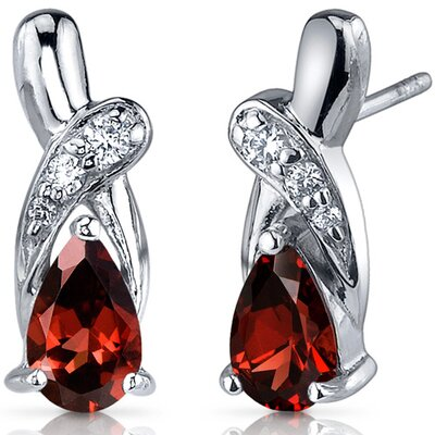 Oravo Graceful Glamour 2.00 Carats Garnet Pear Shape Cubic Zirconia Earrings in Sterling Silver