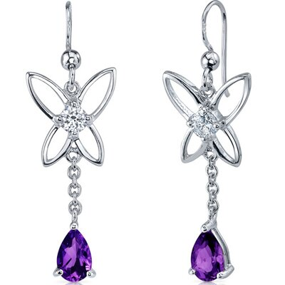 Butterfly Design Gemstone Pear Shape Dangle Cubic Zirconia Earrings in Sterling Silver