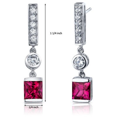 Oravo Exotic Sparkle 3.00 Carats Ruby Princess Cut Dangle Cubic Zirconia Earrings in Sterling Silver