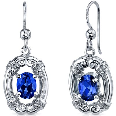Antique Style 2.00 Carats Blue Sapphire Oval Cut Dangle Cubic Zirconia Earrings in Sterling ...