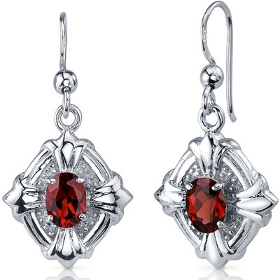Victorian Design 2.00 Carats Garnet Oval Cut Dangle Cubic Zirconia Earrings in Sterling Silver