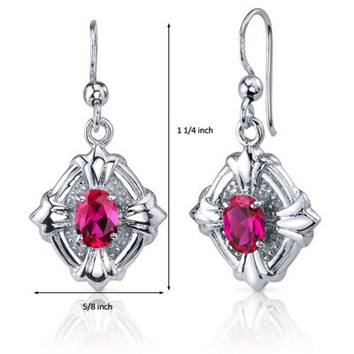 Oravo Victorian Design 2.00 Carats Ruby Oval Cut Dangle Cubic Zirconia Earrings in Sterling Silver