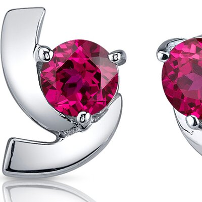 Oravo Illuminating 2.50 Carats Ruby Round Cut Earrings in Sterling Silver
