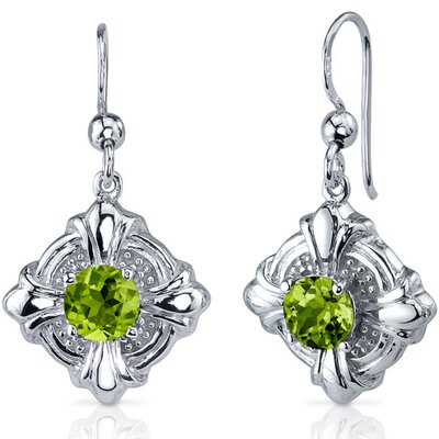 Victorian Style 2.00 Carats Peridot Round Cut Dangle Cubic Zirconia Earrings in Sterling Silver