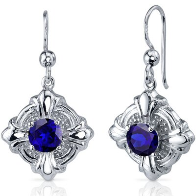 Victorian Style 2.50 Carats Blue Sapphire Round Cut Dangle Cubic Zirconia Earrings in Sterling ...