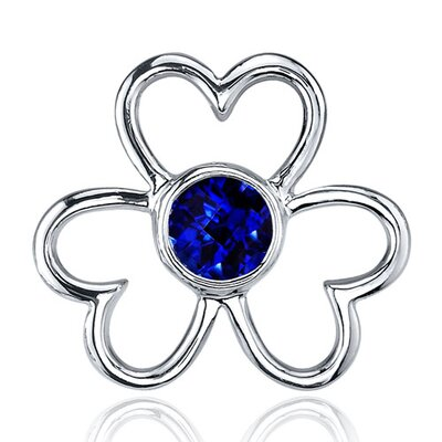 Oravo Floral Heart Design 1.50 Carats Blue Sapphire Round Cut Earrings in Sterling Silver