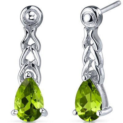 Oravo Intricate Allure 1.50 Carats Peridot Pear Shape Drop Earrings in Sterling Silver