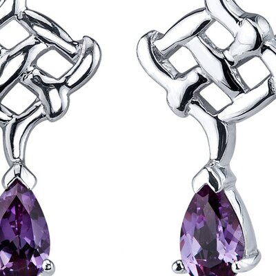 Oravo Ornate Exuberance 2.00 Carats Alexandrite Pear Shape Earrings in Sterling Silver