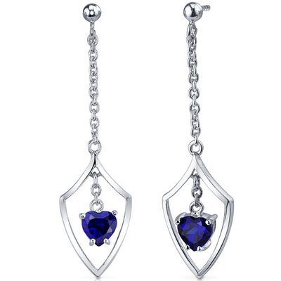 Dynamic Love 2.00 Carats Blue Sapphire Heart Shape Dangle Earrings in Sterling Silver