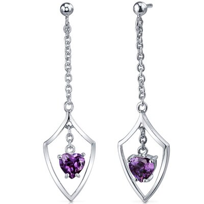 Dynamic Love 2.00 Carats Alexandrite Heart Shape Dangle Earrings in Sterling Silver