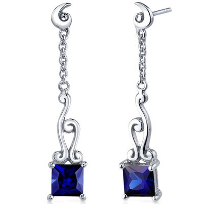 Lucid Spiral Design 2.50 Carats Blue Sapphire Princess Cut Dangle Earrings in Sterling Silver