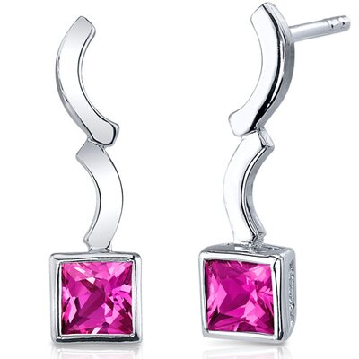 Modern Curves 1.50 Carats Pink Sapphire Princess Cut Earrings in Sterling Silver