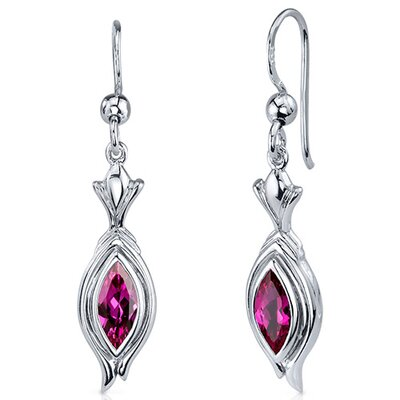 Dynamic Dangle 1.50 Carats Ruby Marquise Cut Earrings in Sterling Silver