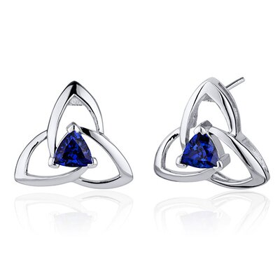 Modern Captivating Spiral 1.00 Carat Blue Sapphire Trillion Cut Earrings in Sterling Silver