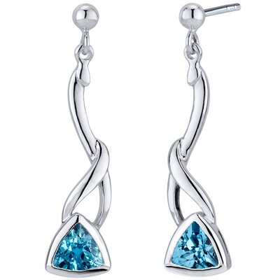 Oravo Mystical Modern Wave 1.50 Carats Swiss Blue Topaz Trillion Cut Dangle Earrings in Sterling Silver
