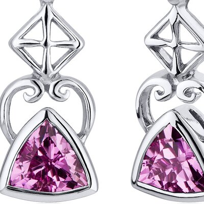 Oravo Ornate Class 2.00 Carats Pink Sapphire Trillion Cut Earrings in Sterling Silver