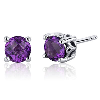 Scroll Design Gemstone Round Cut Stud Earrings in Sterling Silver